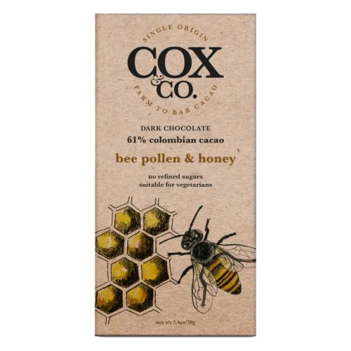 Cox & Co.- 'Bee Pollen & Honey' Chocolate Bar (6x70g)