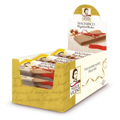 Vicenzi - 'Magnifico' Wafers Hazelnut Display (24x25g)